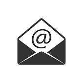 Email icon in single grey color. Open envelope