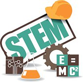 STEM icon flat design with hard hat, computer chip, gear, equation and beaker. EPS 10 vector Royalty free stock illustration for ads, marketing, poster, flyer, blog, article, social media, signage, we