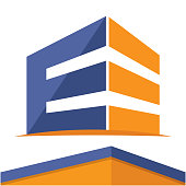 icon  for construction business with the initial letter E, design & color in a flat design style.