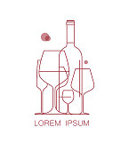 Icon  for wine list, tasting, restaurant menu. A set of wine glasses and a bottle of wine. Modern linear style. Vector illustration.