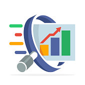 icon icon with the concept of searching, analyzing, for business finance and marketing. Illustrated with magnifying glass, bar chart, and arrow graph increases.