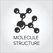 Icon in flat design of abstract molecular structure. Chemical compound black logo. Vector illustration label