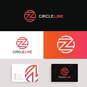 Z icon letter circle sign with brand business card.
