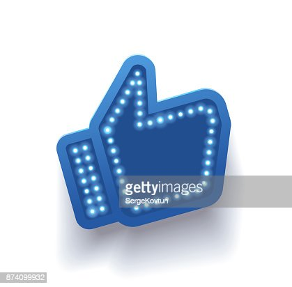 Icon like social network. Hand, big finger up on white background. I like it! : stock vector