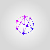Icon networking, network, circle with nodes, gradient business company icon, communication symbol. Vector illustration
