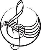 icon of a black treble clef.
