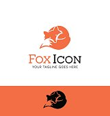 Icon of a curled up red fox