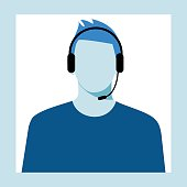 icon of a man  with a headset from the Technical Support. Men  avatar for call center.