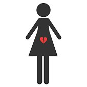 Icon of abortion. Sign pro life and pro choice. The symbol of miscarriage. A woman with a broken heart in her stomach. Isolated