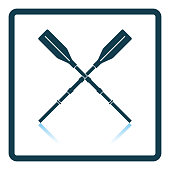 Icon of  boat oars on gray background, round shadow. Shadow reflection design. Vector illustration.