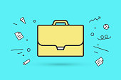 Icon of briefcase. Sign yellow briefcase on blue mint background and explosive geometric graphic element. Icon of businessman briefcase. Vector Illustration