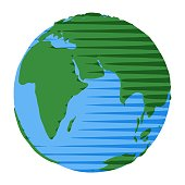 Icon of eastern hemisphere of Earth drawn in retro cartoon flat style with vintage comic stripes