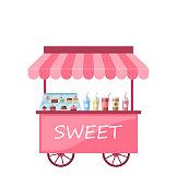 Illustration Icon of Kiosk with Cakes, Milkshakes. Sweet Cart Isolated on White Background - Vector