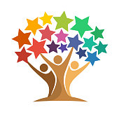 icon of tree illustration with the concept of unity of people reaching the star