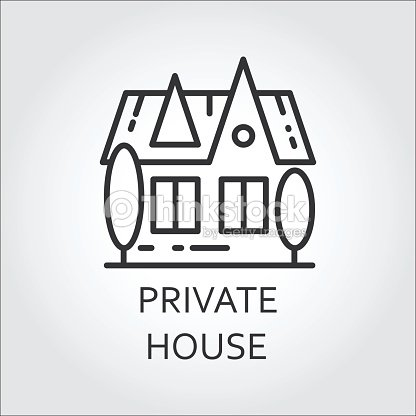 Icon Private House Drawn In Outline Style Simple Linear Label Vector Art