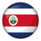 Icon representing button flag of Costa Rica. Ideal for catalogs of institutional materials and geography