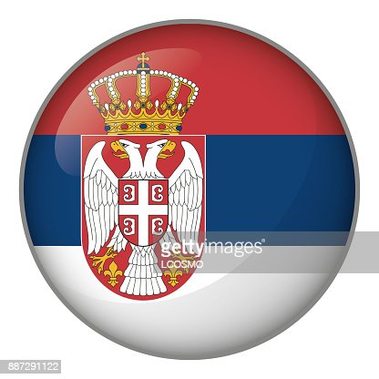 Icon representing button flag of Serbia. Ideal for catalogs of institutional materials and geography : stock vector