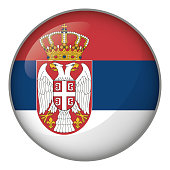 Icon representing button flag of Serbia. Ideal for catalogs of institutional materials and geography
