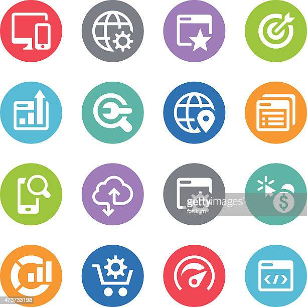SEO Icon Set - Circle Illustrations