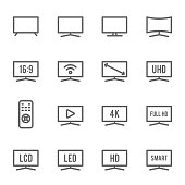 TV Icon Set. Contains such Icons as Monitor, Full HD, LCD, LED, 4K, HD and more. Expanded Stroke