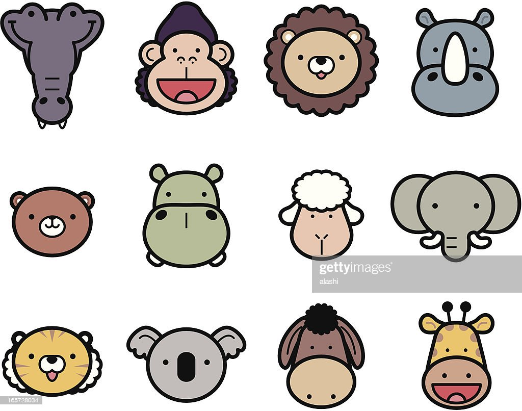 icon set cute zoo animals in color vector art getty images