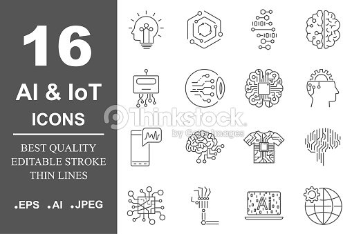 AI icon set. Data science technology, machine learning process. Data insight, transformation, scalable, modeling API. Editable Stroke : stock vector