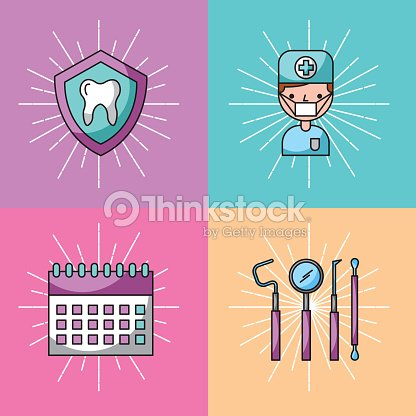 Icon set dentist profession