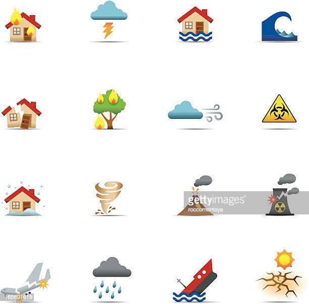 Conjunto de iconos de Color, desastres