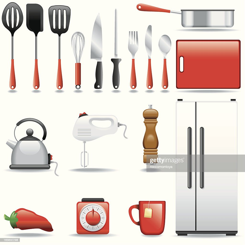 Icon set kitchen vector art getty images for Kitchen set vector