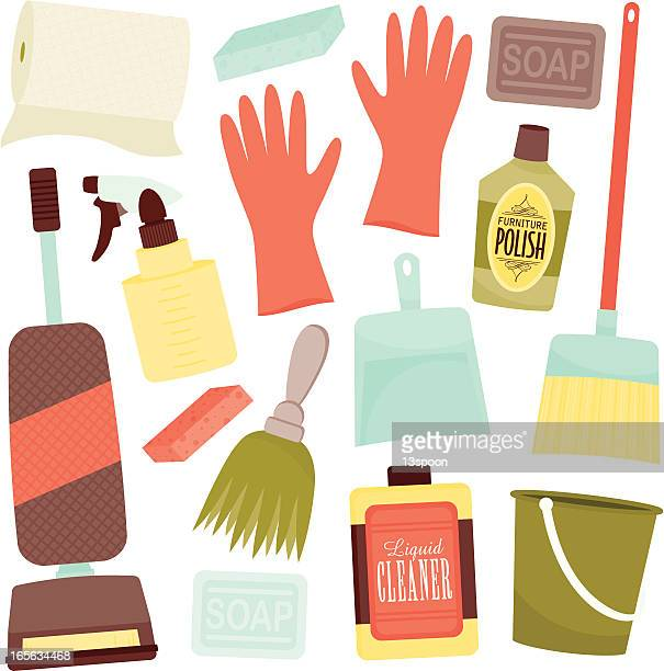 Icon set of cleaning items icons in soft colors