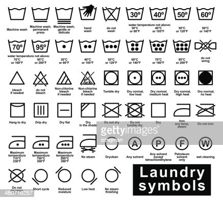 Icon set of laundry symbols : Vector Art
