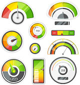 Icon set of level meters, tachometer and battery level. Vector pictures set. Illustration of measurement level and power indicator