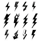 Graphic symbols collection of lightning bolt. Qualitative vector signs for weather, design, science, electricity, energy, danger, speed, etc