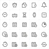 Icon set - time and schedule outline stroke vector illustration