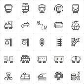Icon set – train and transport vector illustration