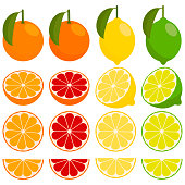 icons vector citrus fruits: orange, lemon, lime, grapefruit, tangerine. set with whole fruit and a half, with leaves and without. vector illustration in a flat style.
