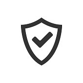Shield icon with checkmark in single grey color. Protection guard safety