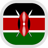 Flag of Kenya. Rounded square icon on white background, vector illustration.