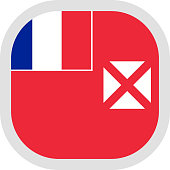 Flag of Wallis and Futuna Islands Rounded square icon on white background, vector illustration.