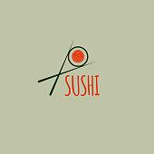Icon sushi delivery. Sushi bar, cafe, restaurant, lunch. Vector illustration.