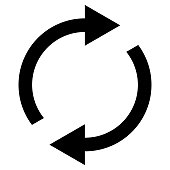 Icon swap resumes, spinning arrows in a circle, vector symbol sync, renewable product exchange, change renew