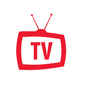 icon television with antenna in retro style with words TV