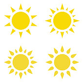 """Icon """"Sun"""". Set. Vector flat illustration. Yellow silhouette, isolated on white background."""