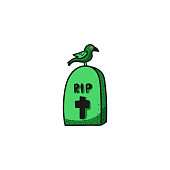Vector cartoon Halloween grave icon with a crow in cartoon style. Vector illustration.
