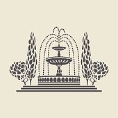 Icon of a stylized vintage Park fountain with steps and trees. Flat vector isolated silhouette.