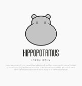 icon with head of hippo in thin line style. Vector illustration.
