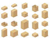 Illustration depicting a set of boxes, cartons, boxes in the 3D projection on a white background in a realistic form.Illustration depicting a set of boxes, cartons, boxes in the 3D projection on a whi