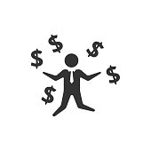 Businessman money icon in single color. Business wealth dollar sign happy jump