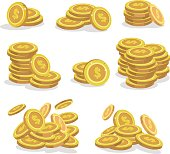 Icons coins for the game interface. Set of cartoon coin