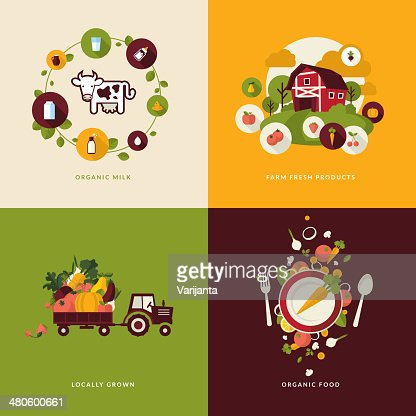 Icons for organic food and milk : Vector Art